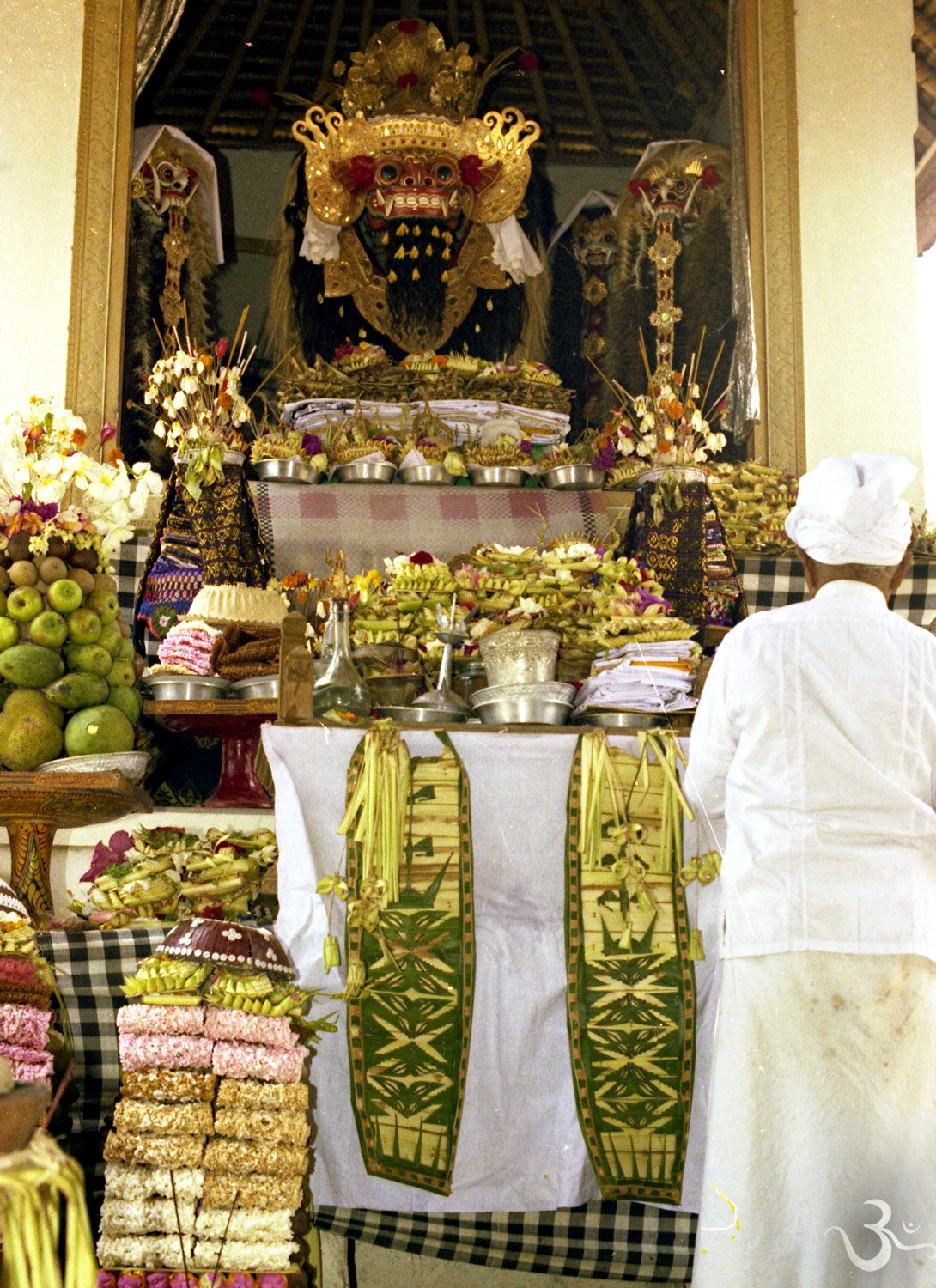 sacred Barong and Rangda masks in the Pura Dalem Batubulan (seventies)
