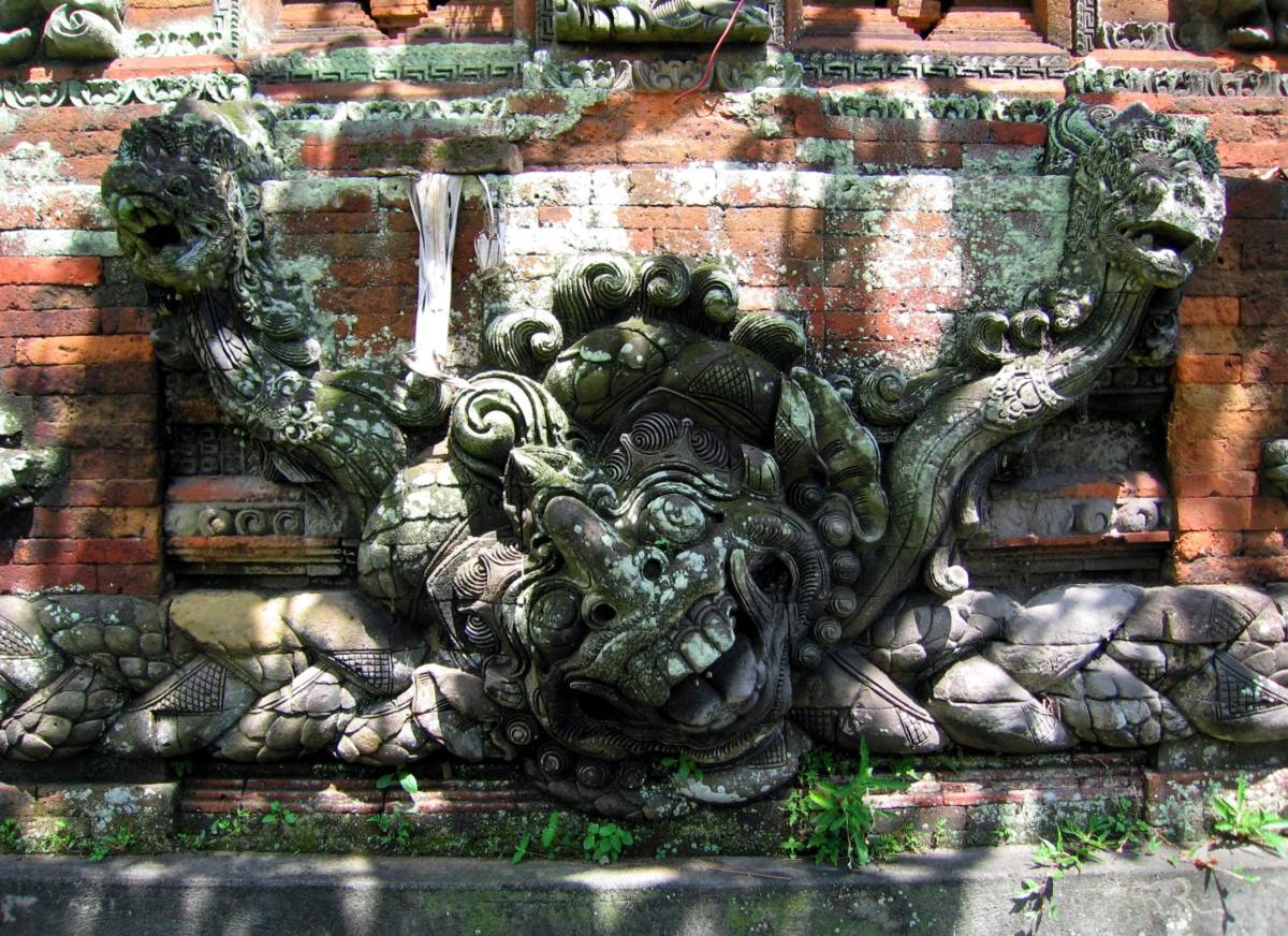 world-turtle Bedawang with Naga-Naga serpents of the temple Pura Dalem Surya Baha Mengwi Badung