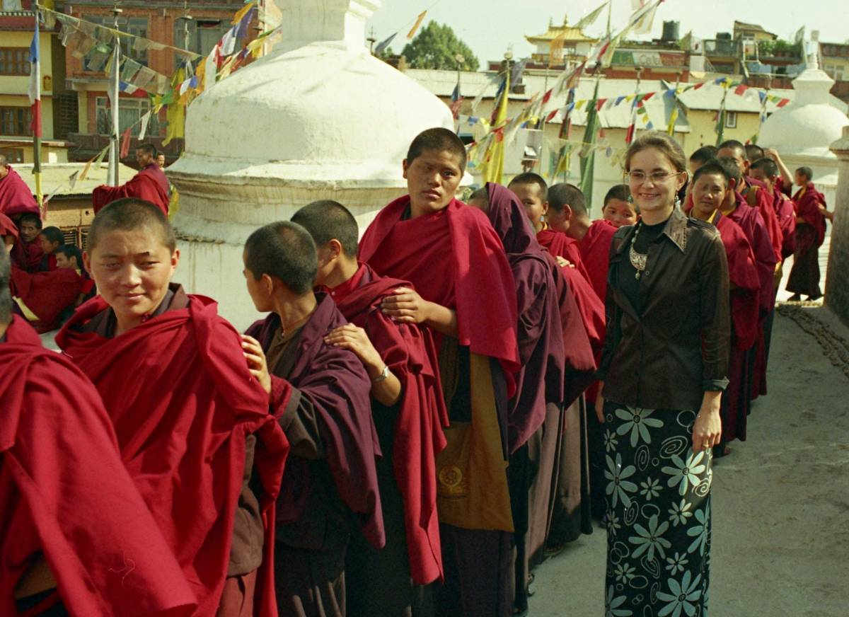 monks at Boudhanath (Nepal)